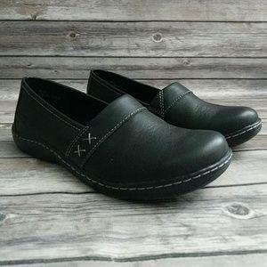 B.O.C. Black Leather Slip On Flats
